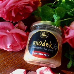 miód naturalny z płatkami róży